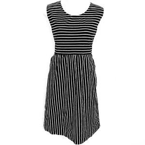 LAND'S END Black White Striped Sleeveless Dress L